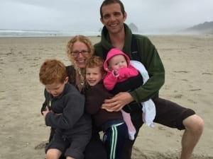Kayte O'Brien with her husband and three children.